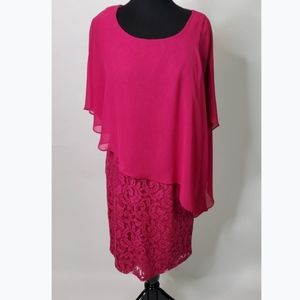 Adrianna Papell Pink Lace Dress (Size: 10)